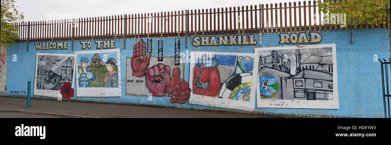 Welcome To the Shankill Road panorama - International Peace Wall,Cupar Way,West Belfast , Northern Ireland, UK - Stock Image