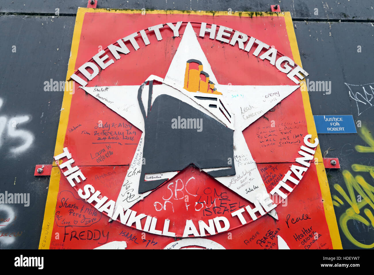 Identity,Heritage,International Peace Wall,Cupar Way,West Belfast , Northern Ireland, UK - Stock Image
