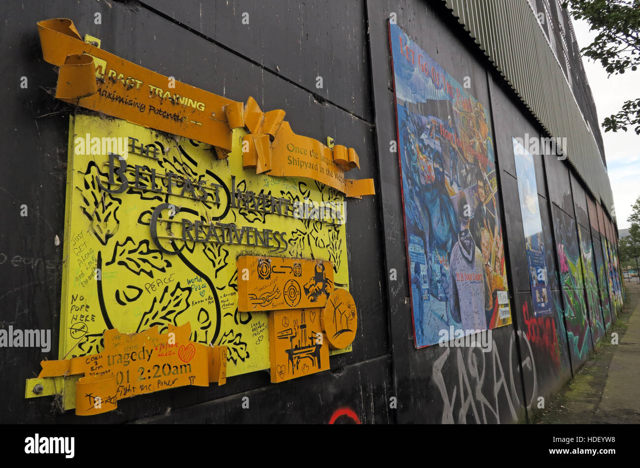 Belfast Inventiveness - International Peace Wall,Cupar Way,West Belfast , Northern Ireland, UK Stock Photo