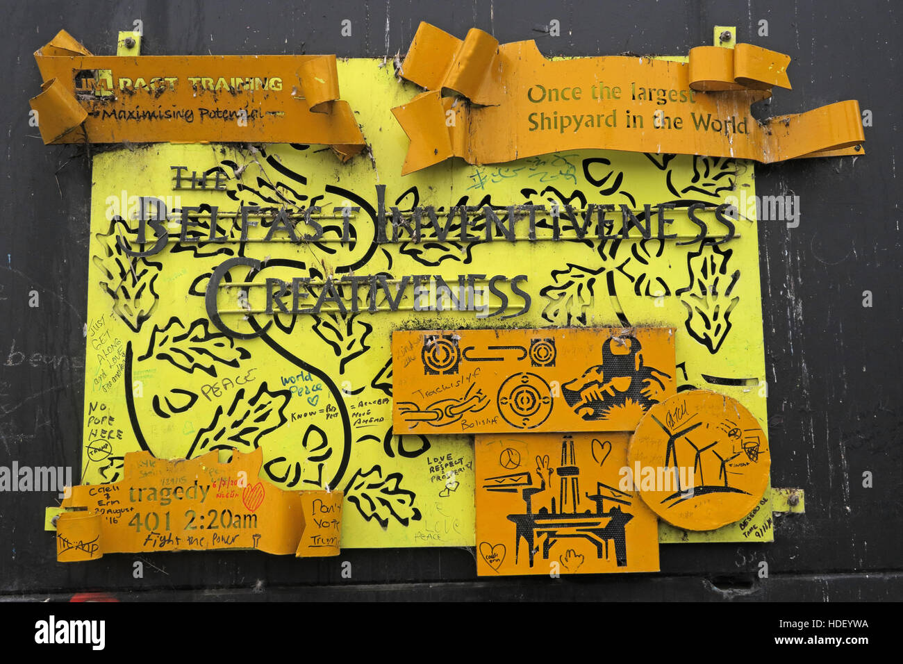 Belfast Inventiveness - International Peace Wall,Cupar Way,West Belfast , Northern Ireland, UK - Stock Image