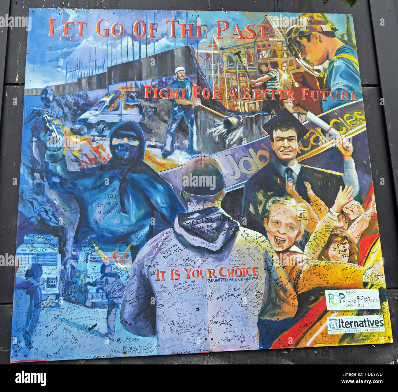 Let go of the past - International Peace Wall,Cupar Way,West Belfast  , Northern Ireland, UK Stock Photo