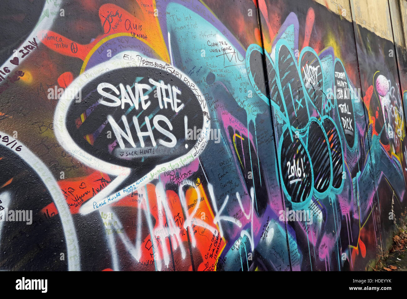 Save The NHS, International Peace Wall,Cupar Way,West Belfast , Northern Ireland, UK - Stock Image