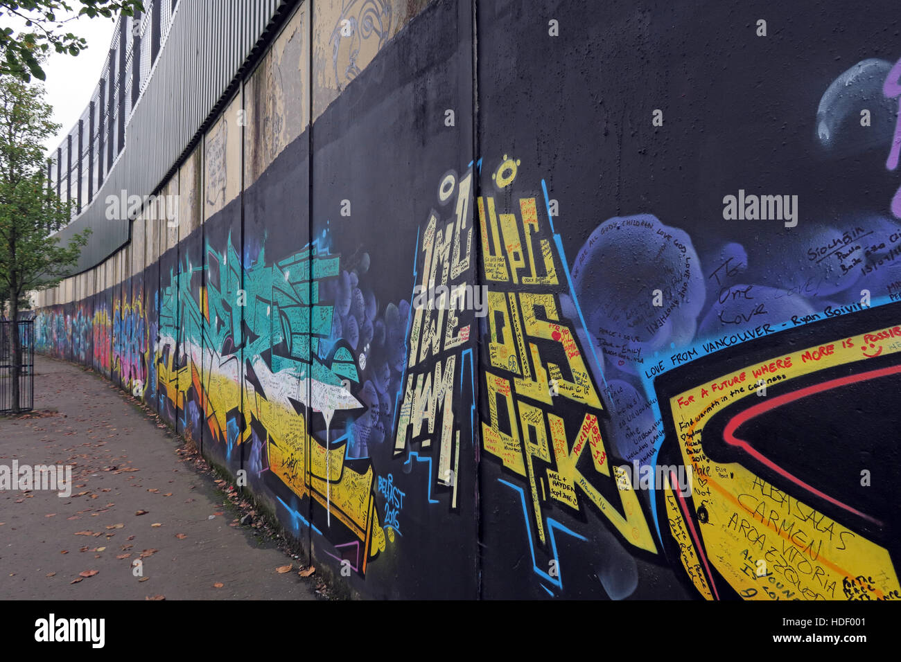 International Peace Wall,Cupar Way,West Belfast , Northern Ireland, UK - Stock Image