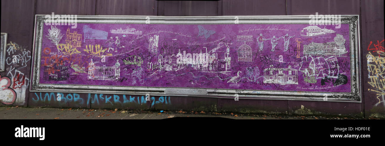 Panorama from Belfast International Peace Wall,Cupar way,West Belfast,NI,UK - Stock Image