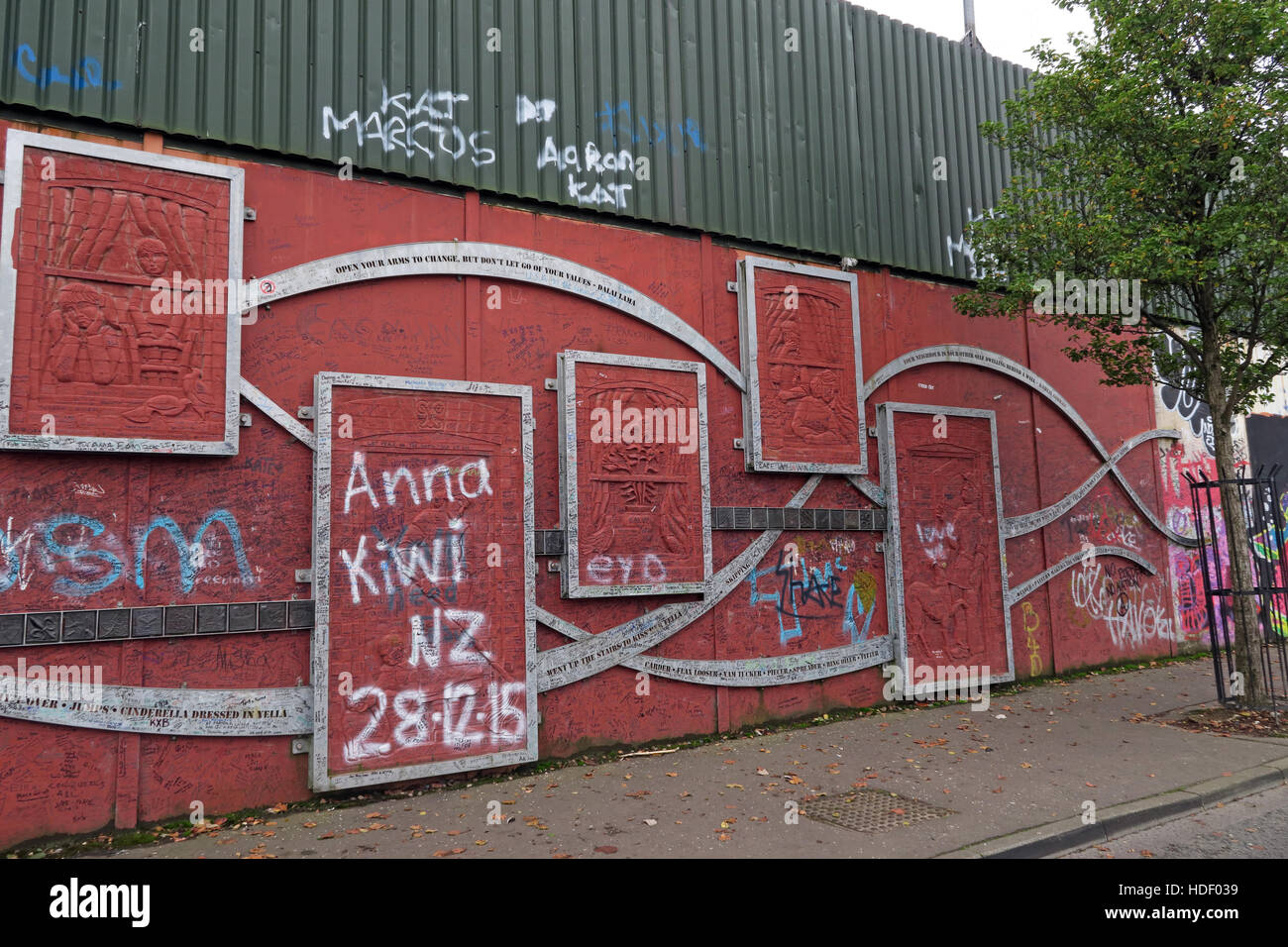 Open Your Arms To Change ... - Belfast International Peace Wall,Cupar way,West Belfast,NI,UK - Stock Image