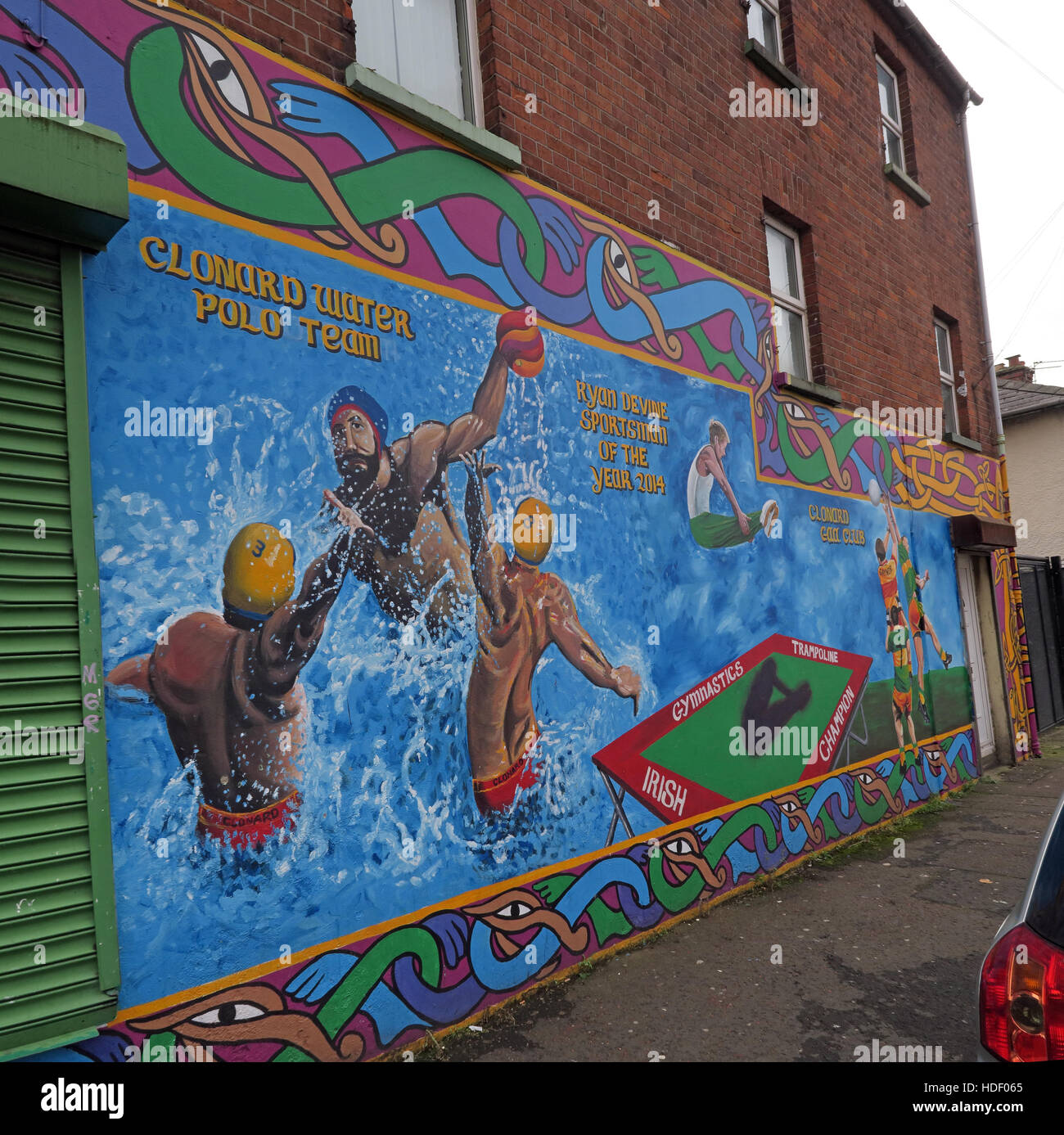 Belfast Falls Rd Republican Mural- Irish Sport, Clonard Water Polo Team - Stock Image
