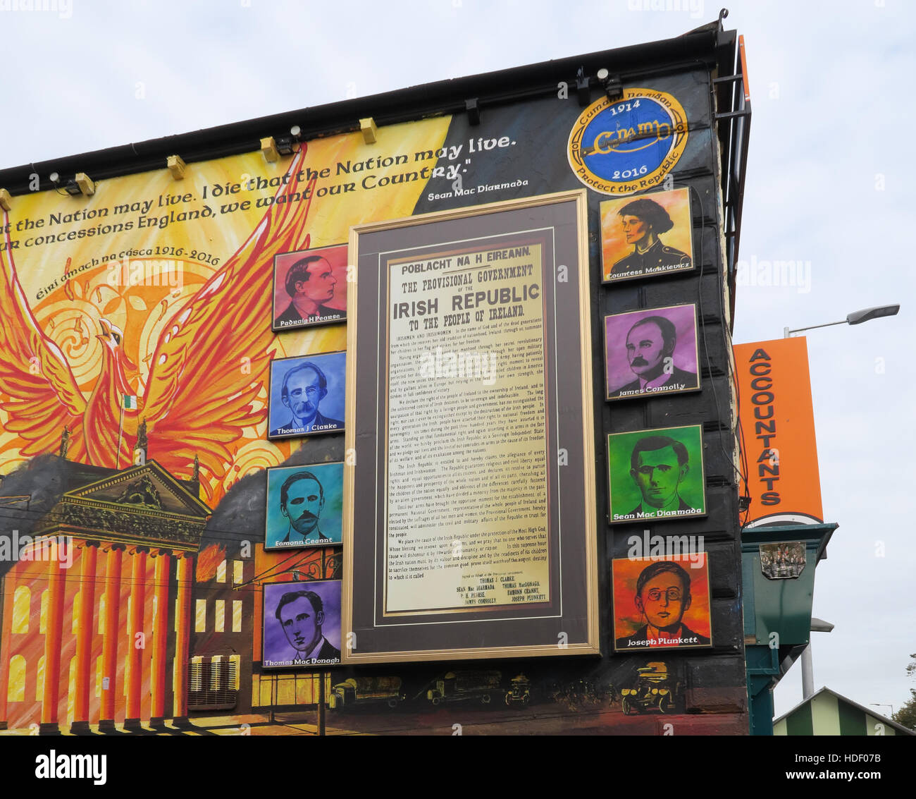 Belfast Falls Rd Republican Mural 1798 Eire, United Irishmen Rebellion - Stock Image