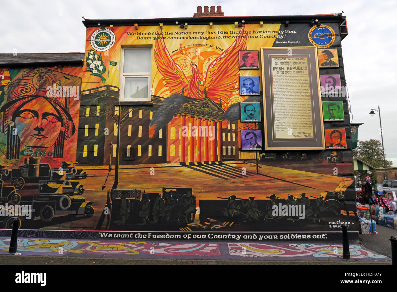 Belfast Falls Rd Republican Mural 1798 Eire, United Irishmen Rebellion Stock Photo