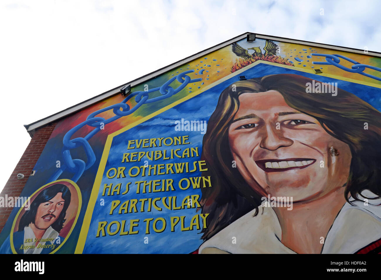 Belfast Falls Rd Republican Mural- Everyone in a revolution,has their part to play Stock Photo