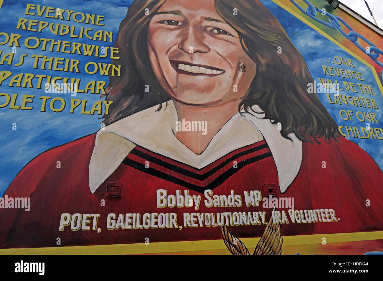 Everyone Republican. Belfast Falls Rd Mural- Bobby Sands MP, Poet,Gaeilgeoir,revolutionary,IRA Volunteer - Stock Image