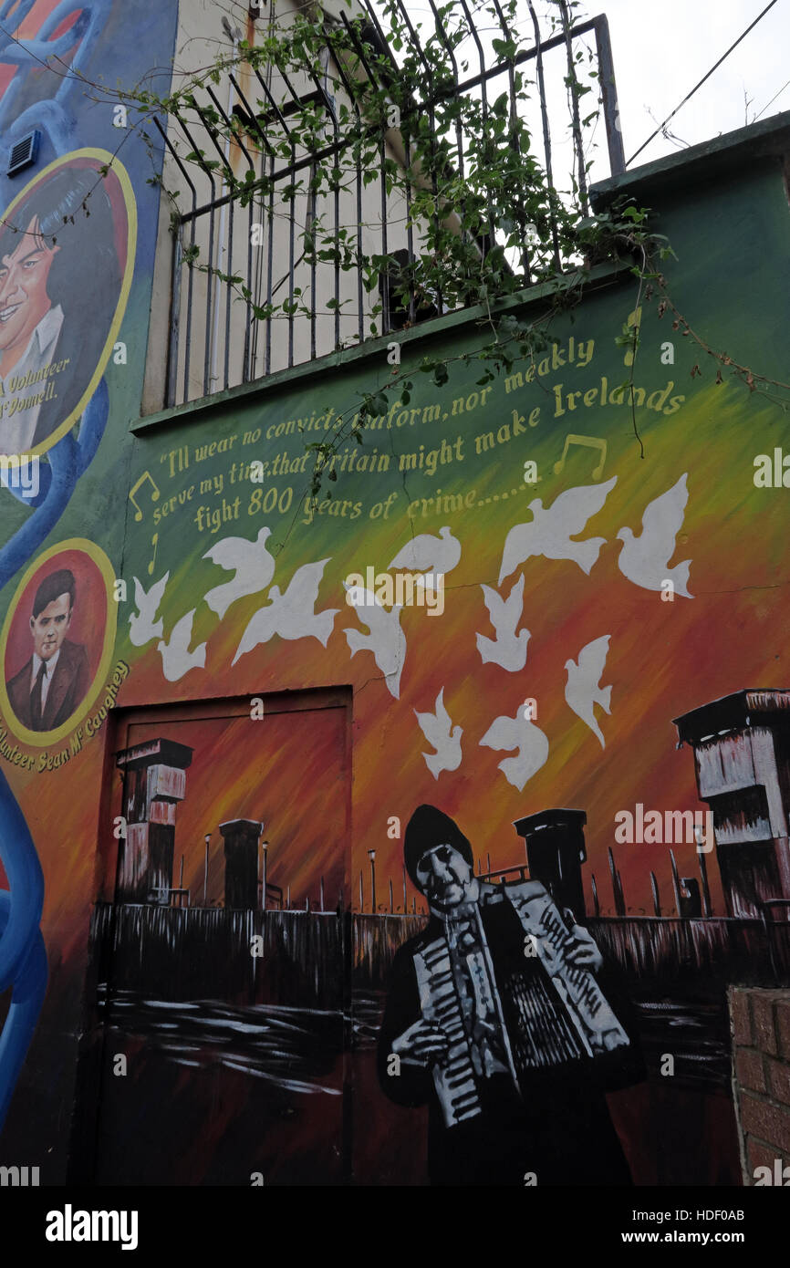 Belfast Falls Rd Rebublican Mural- 800 years of Crime - Stock Image