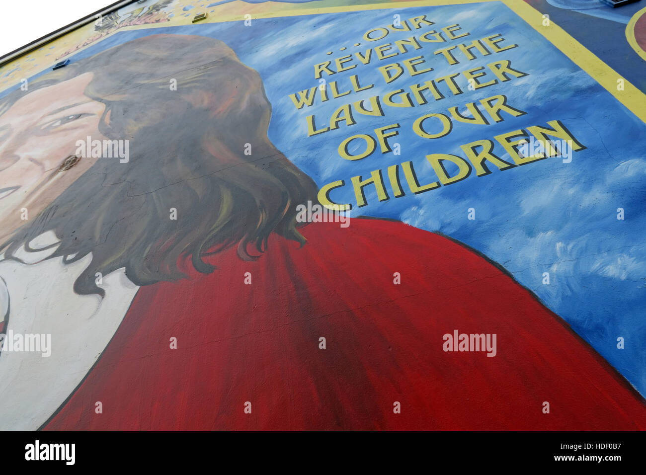 Our Revenge will be the laughter of our children - Belfast Falls Rd Republican Mural to Bobby Sands MP. - Stock Image