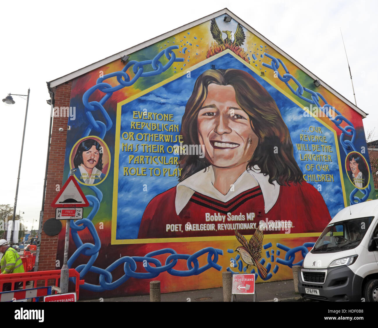 MP Bobby Sands - Belfast Falls Rd Rebublican Mural Stock Photo