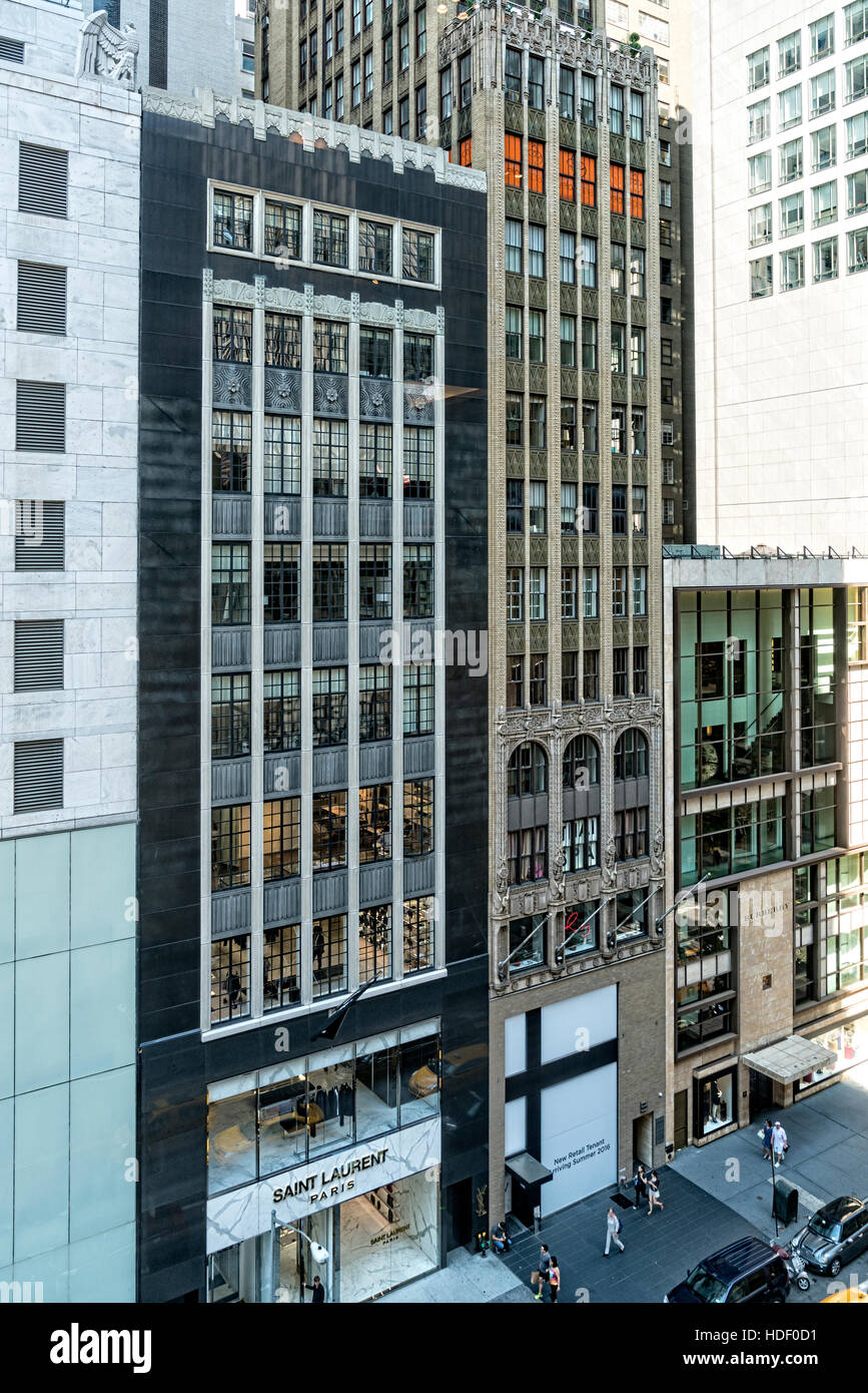 Looking Down on East 57th Street, Manhattan, New York City, at Office Buildings, Pedestrians on the Sidewalk and - Stock Image