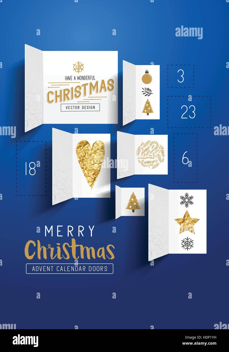 Christmas advent calendar doors open to reveal festive images. Vector illustration - Stock Image