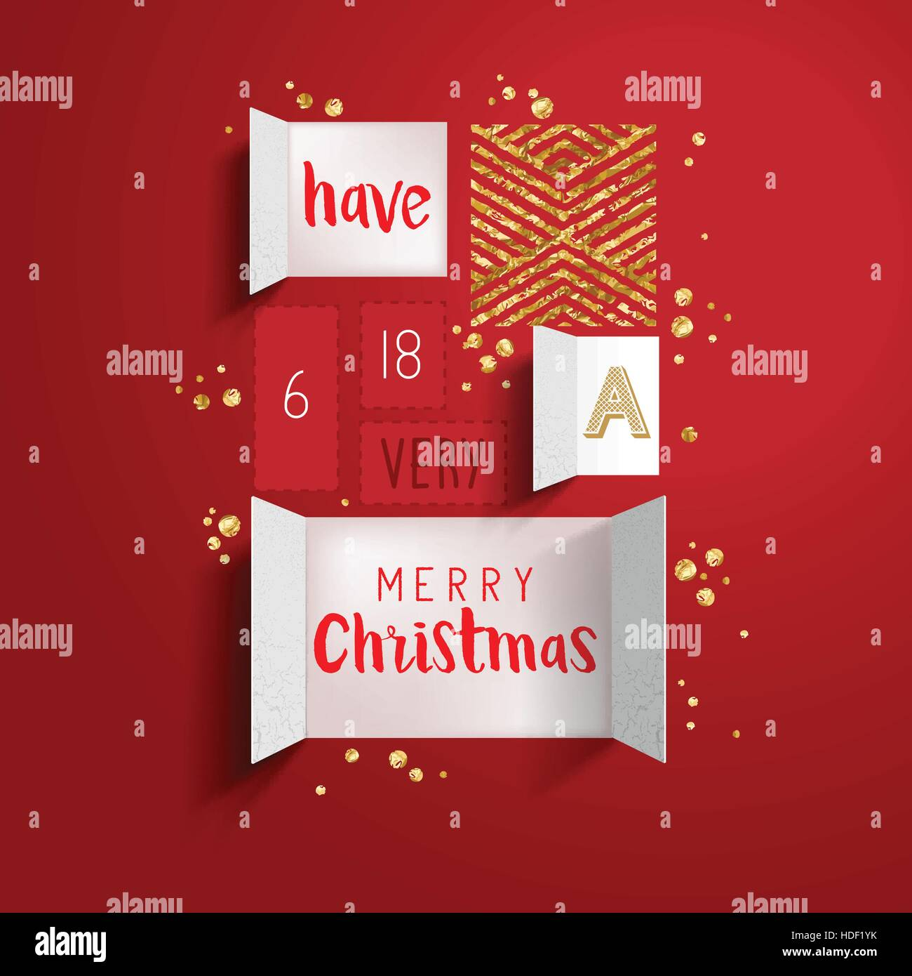 Christmas advent calendar doors open to reveal a festive message with gold details. Vector illustration - Stock Image