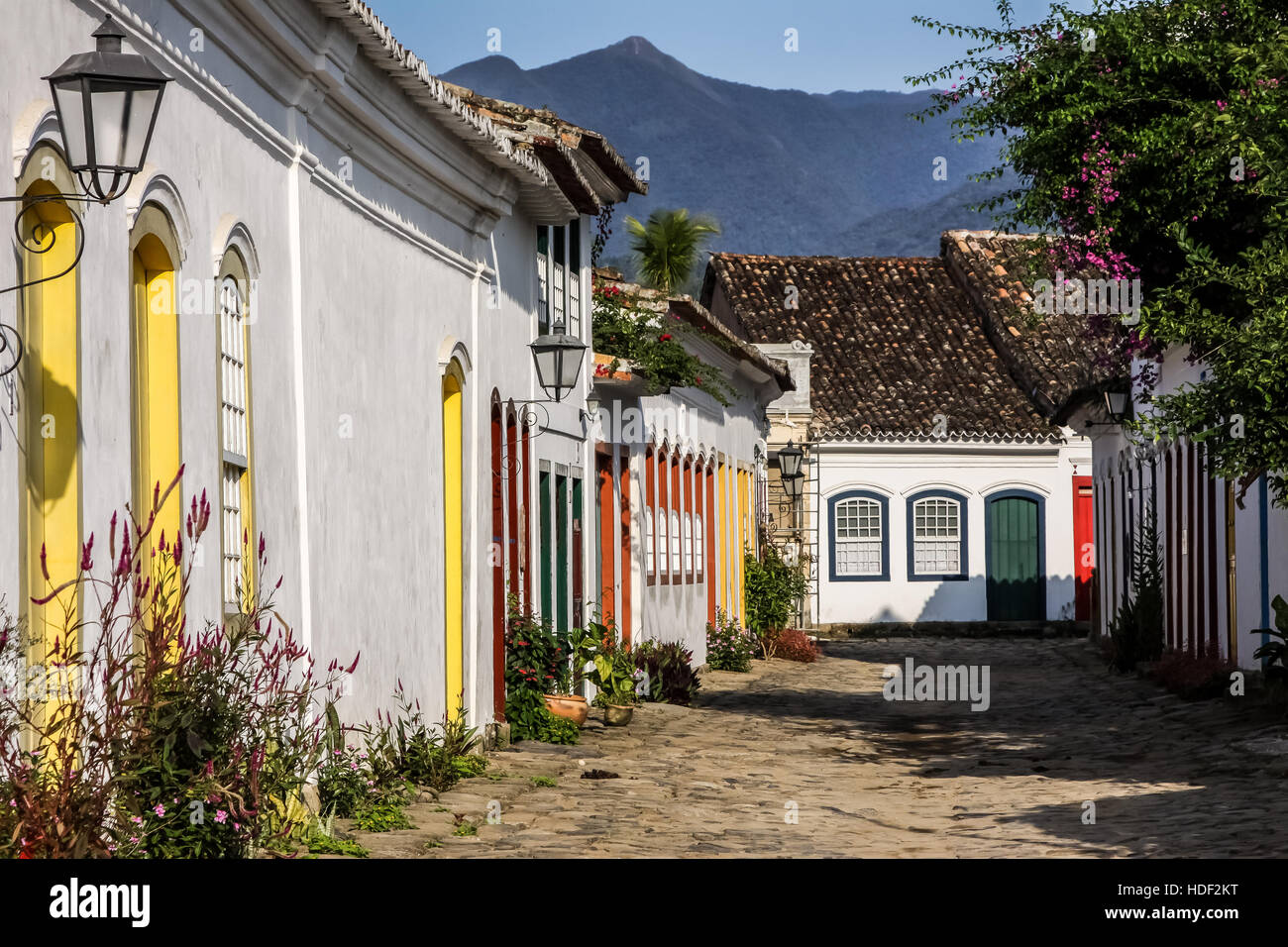 Historical Paraty with its beautiful colonial houses in Brazil Stock