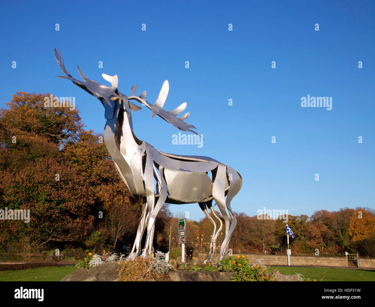 Great Irish Elk sculpture, Warrenpoint roundabout, Co. Down - Stock Image