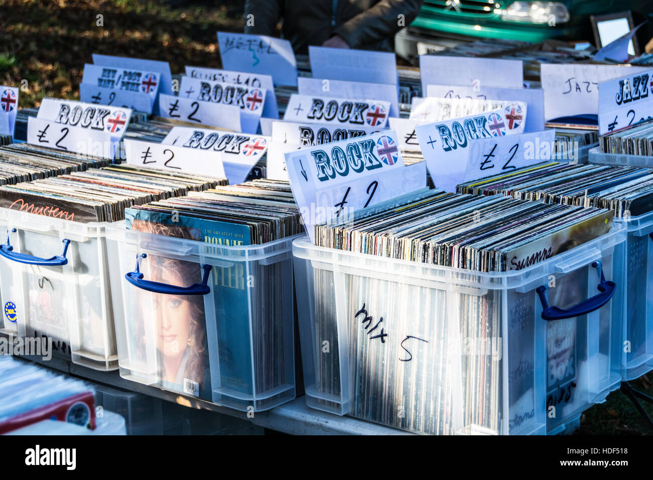 Old vinyl LP records on sale at a car boot sale in London, England, UK - Stock Image