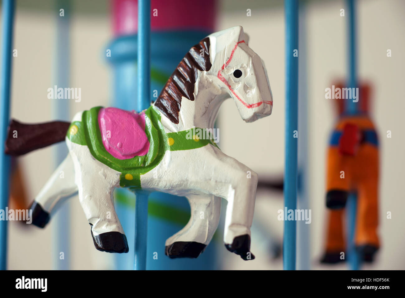 merry-go-round horse carillon, wooden carouse, made in italy, artisan, work of art Stock Photo