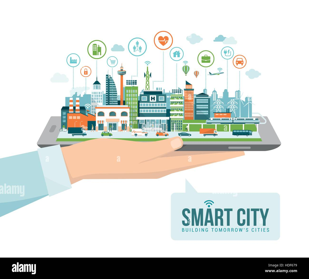 Hand holding a digital tablet with a contemporary smart city and apps icons: augmented reality and internet of things Stock Vector