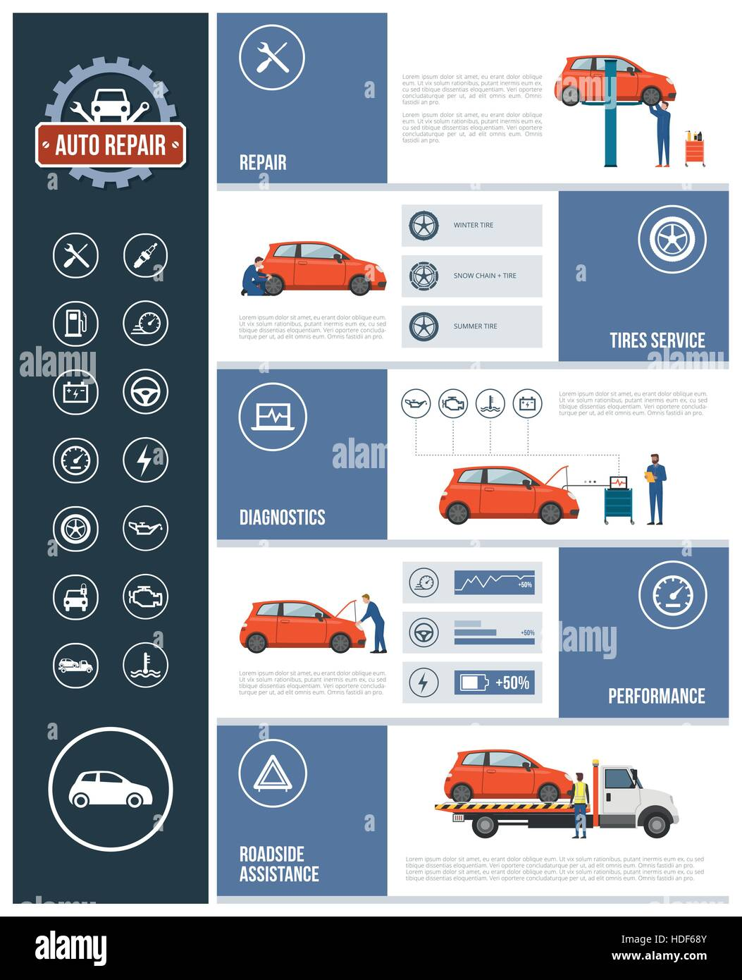 Auto Repair Service Infographic With Mechanics Working On