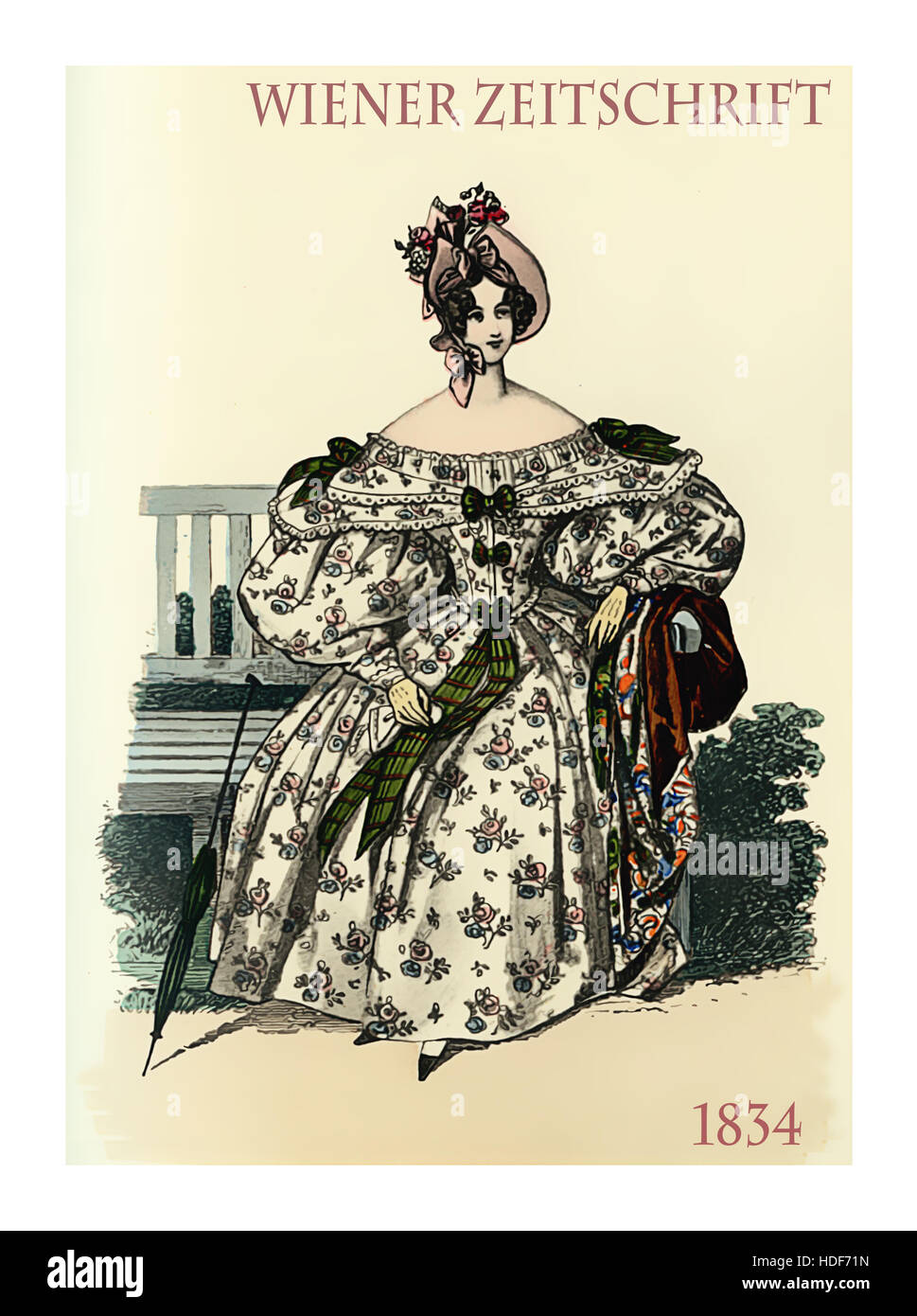 Vienna 1834 fashion, young lady elegant dressed sitting in garden with parasol - Stock Image