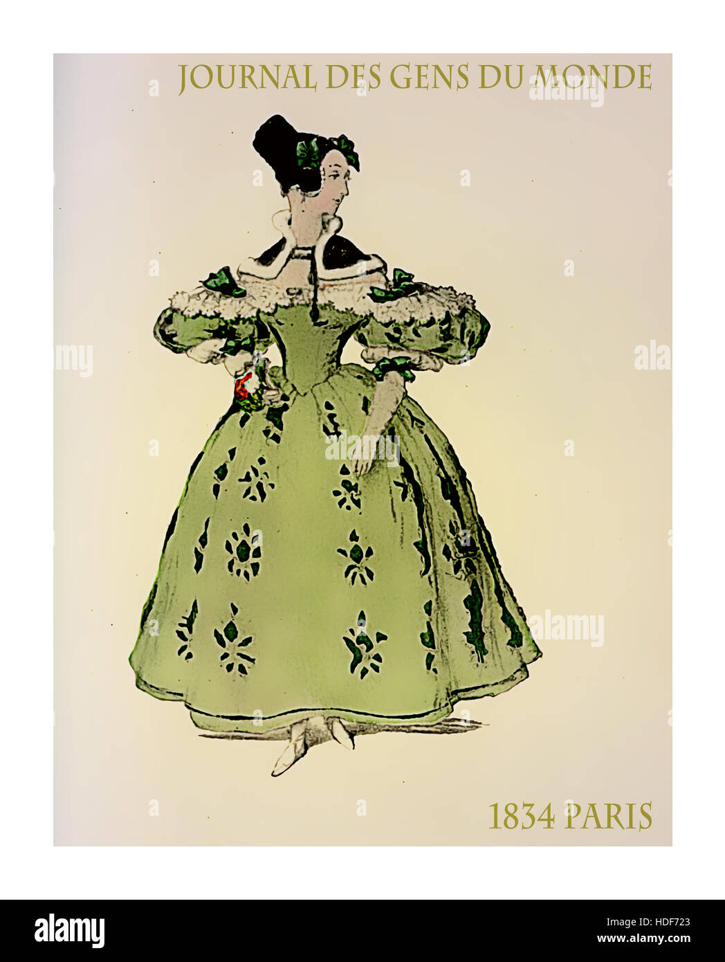 French 1834 fashion, lady elegant dressed with bows, hat and frills Stock Photo