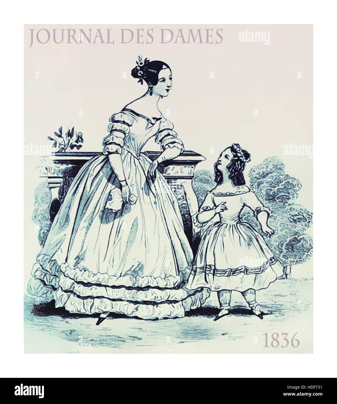 French 1836 fashion, young lady and girl elegant dressed with laces, frills and hairdo in garden - Stock Image