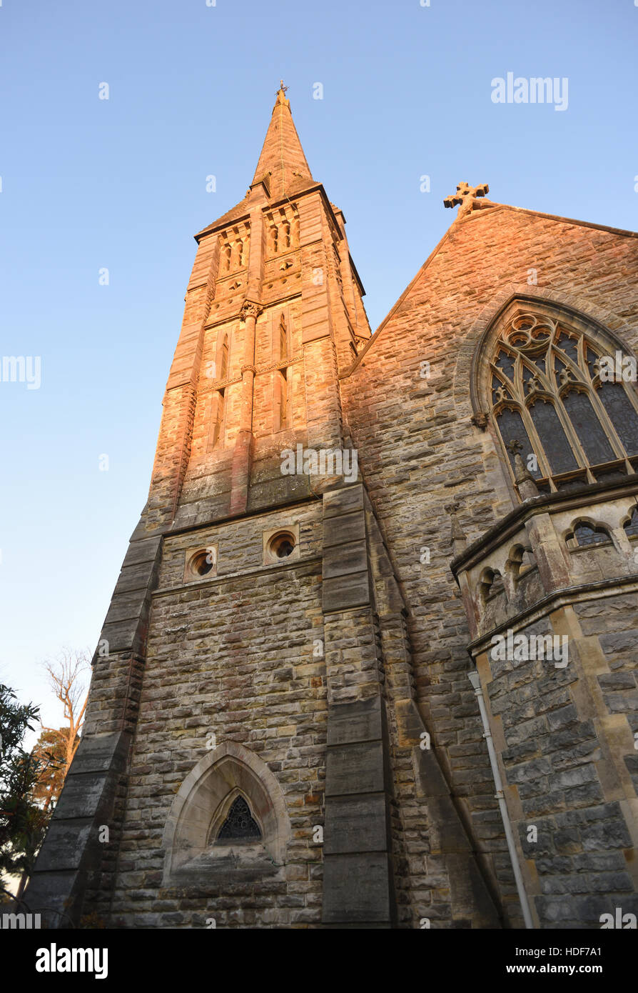 The slender stone spire of St Mark's Church,  Broadwater Down, Tunbridge Wells, Kent, UK - Stock Image