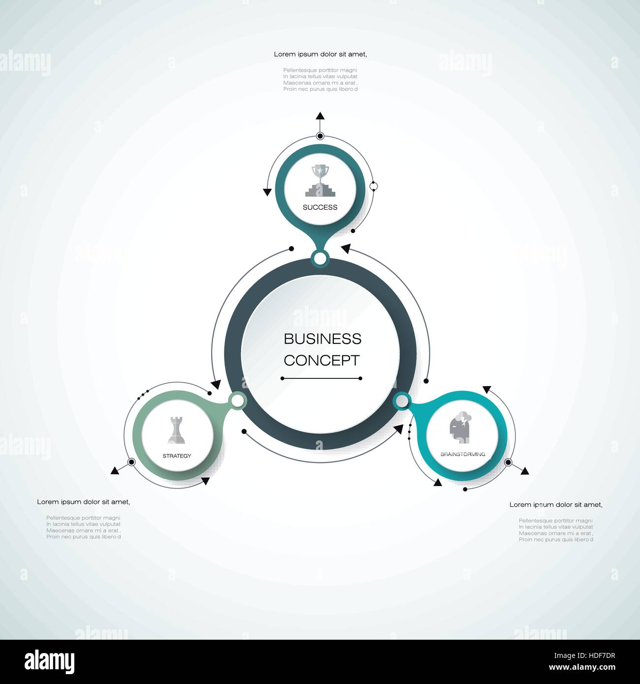 Vector infographics, 3D paper cycle diagram template ...