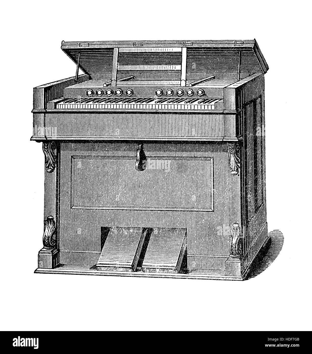 Pump organ or harmonium smaller than pipe organ, used in XIX century in small churches and private houses - Stock Image