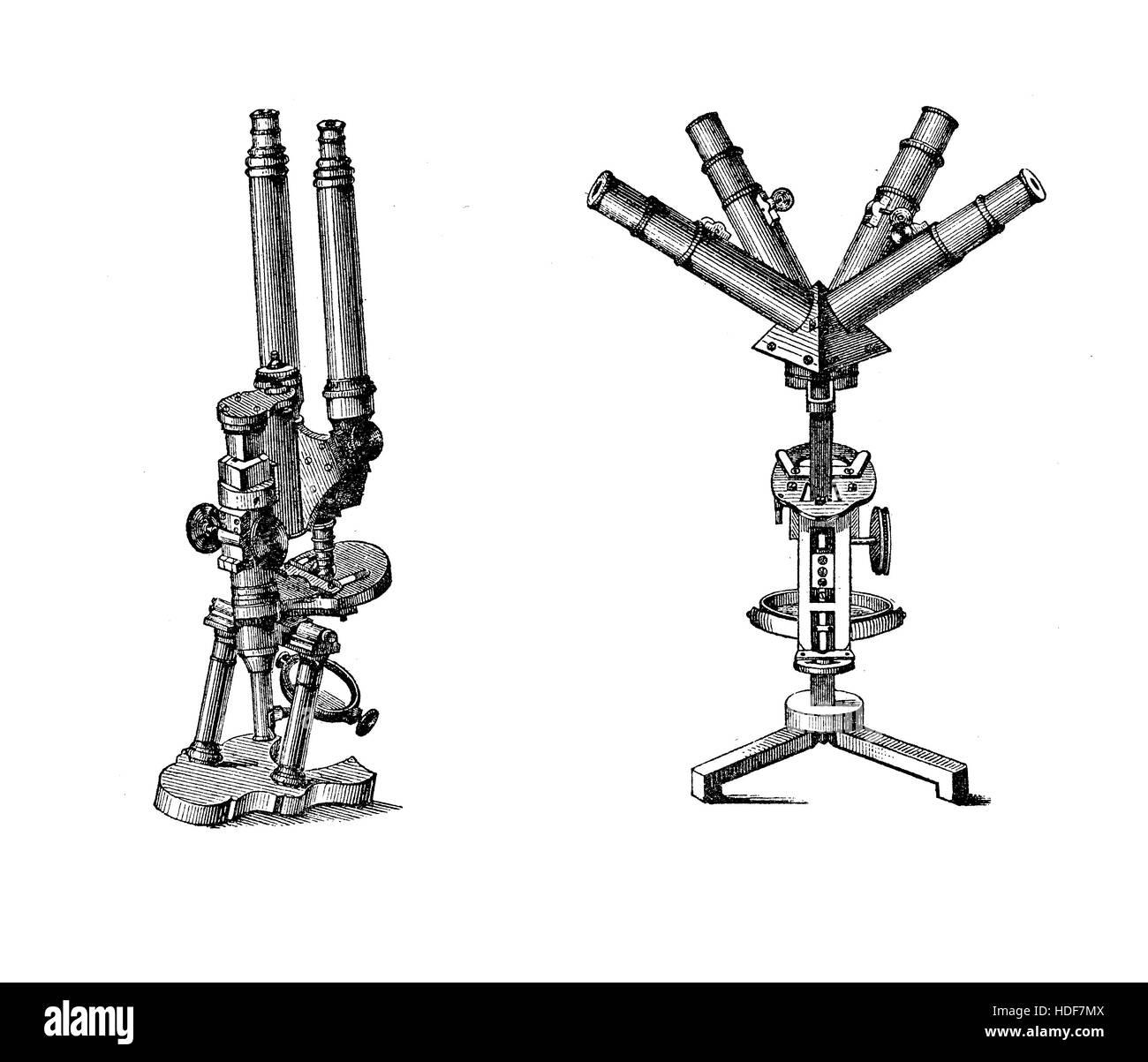 Laboratory equipment at end XIX century, Binocular and quadriocular microscope - Stock Image