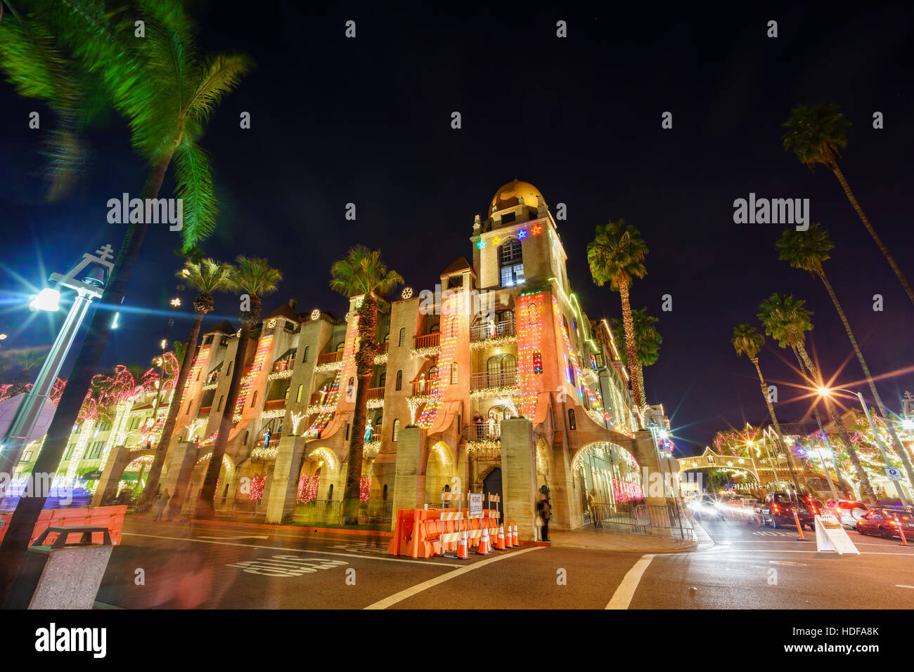 exterior of the historical mission inn during twilight christmas at riverside california - Mission Inn Christmas