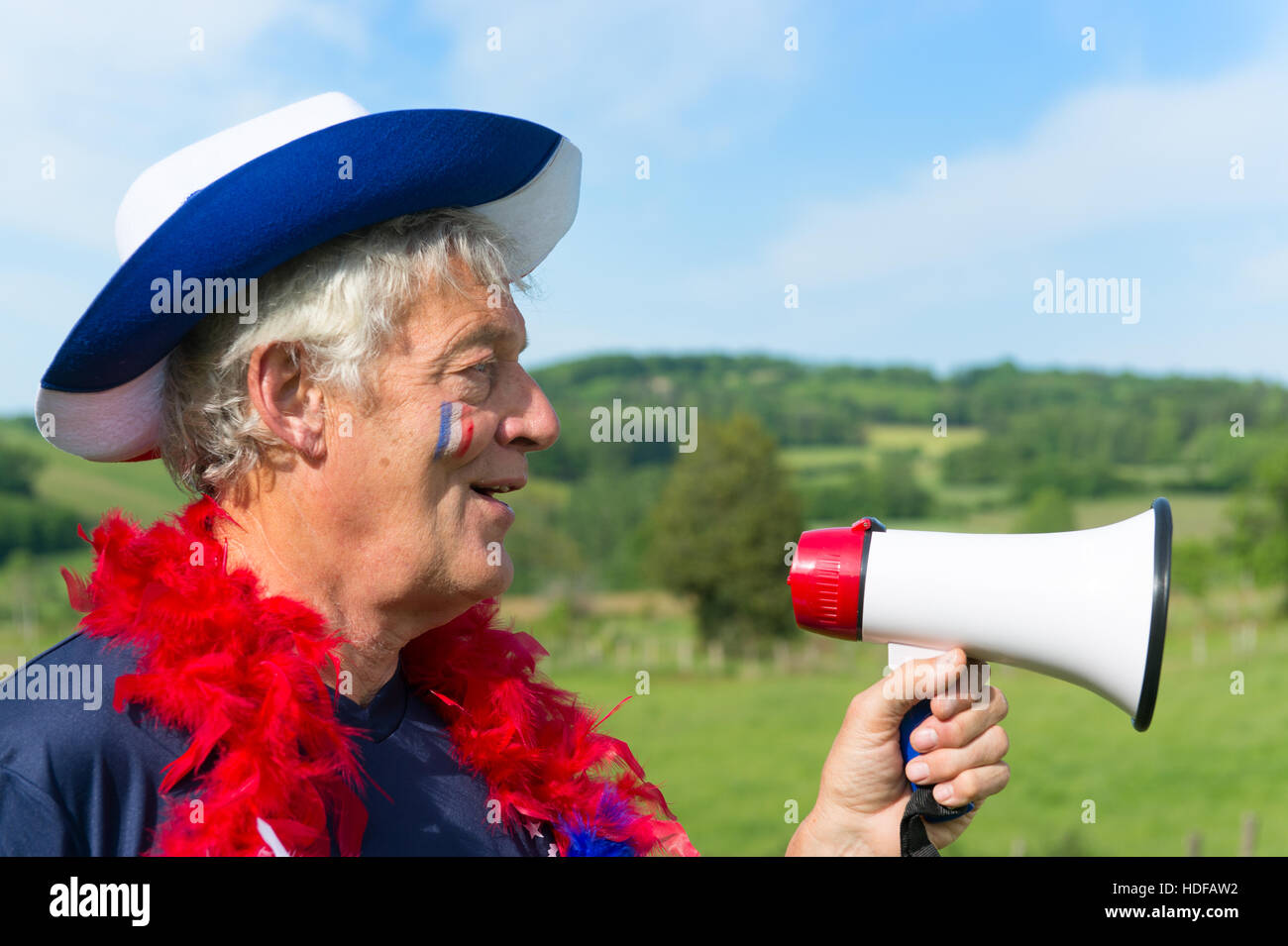 04e6e82cc39 French soccer fan from les bleus in France with megaphone Stock ...