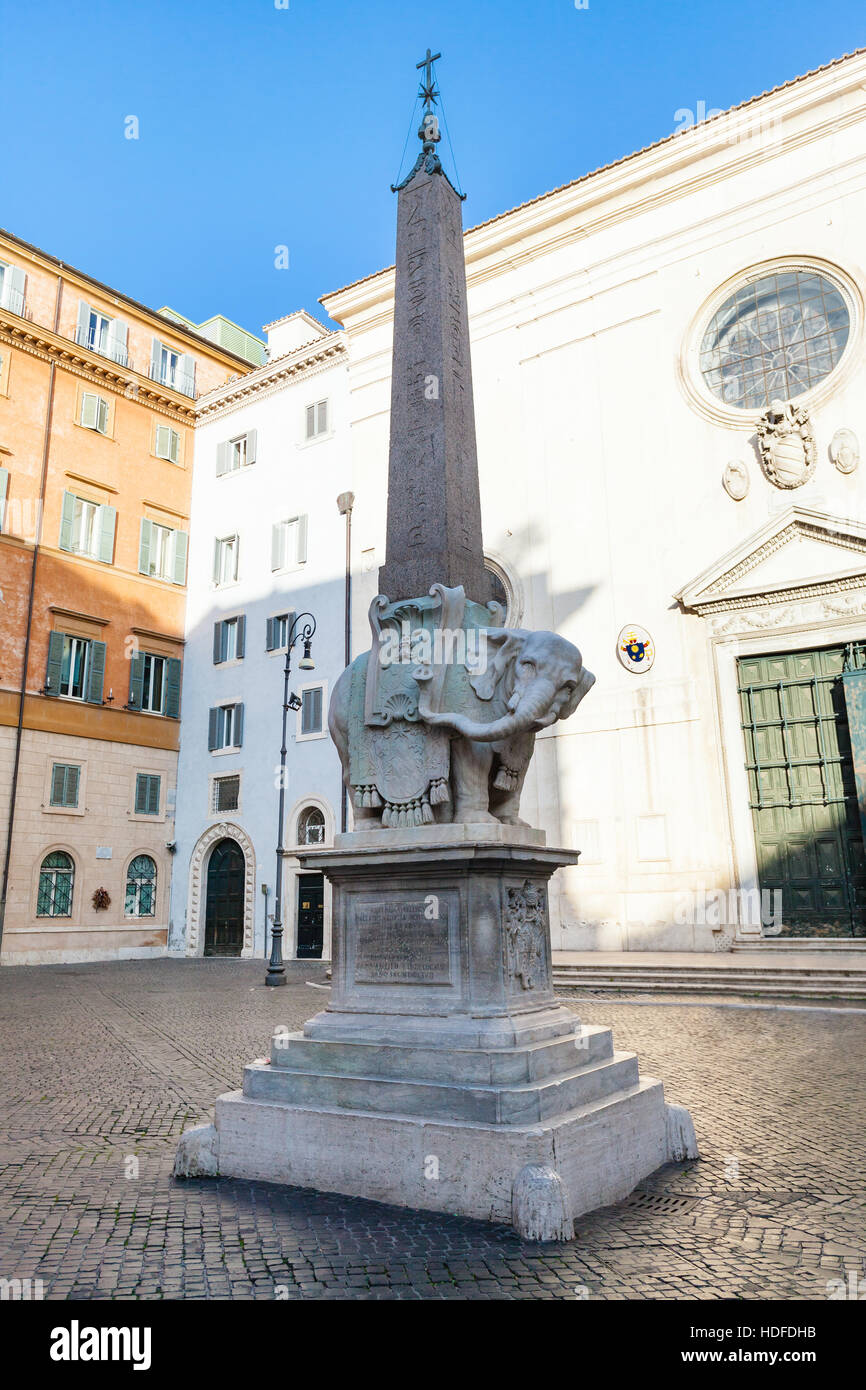 travel to Italy - Elephant and Obelisk by Bernini and Basilica of Saint Mary above Minerva (Church Santa Maria sopra Stock Photo