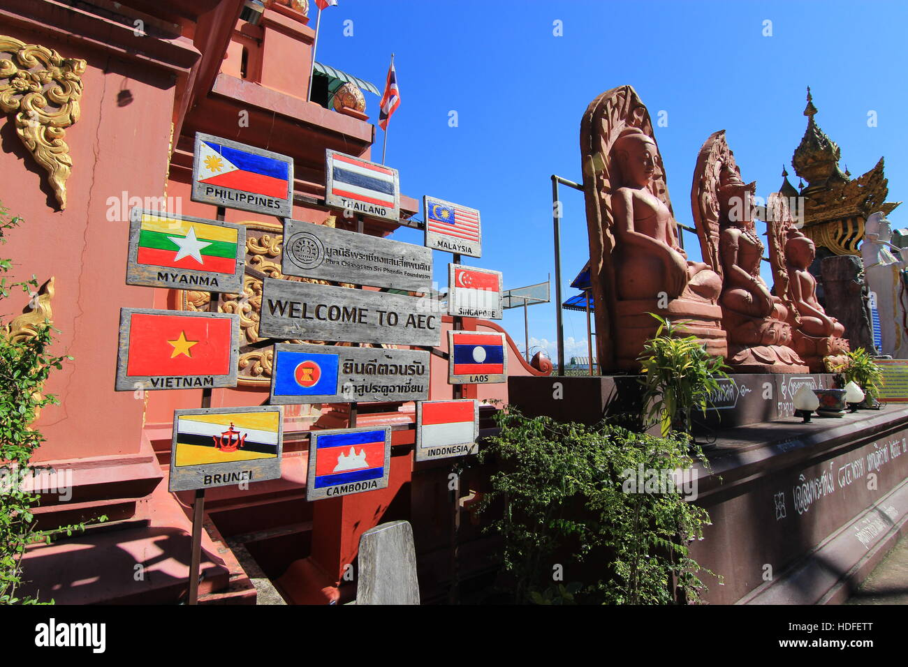 Welcome to AEC post in Golden Triangle Chiang rai, Thailand - Stock Image