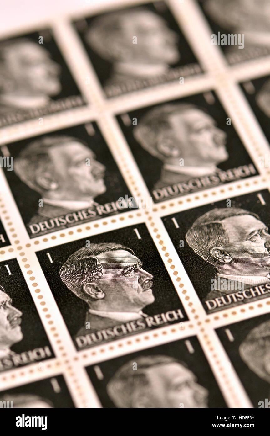 German Postage Stamp (1941) : Adolf Hitler 1pf, Deutsches Reich. Sheet - Stock Image