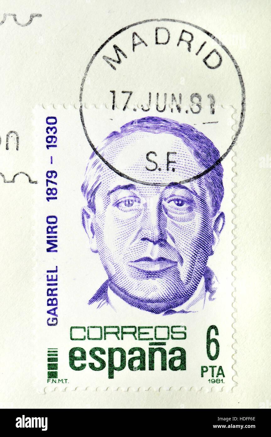 Spanish postage stamp (1981) : Gabriel Miro (1879-1930) Spanish modernist writer. Stock Photo