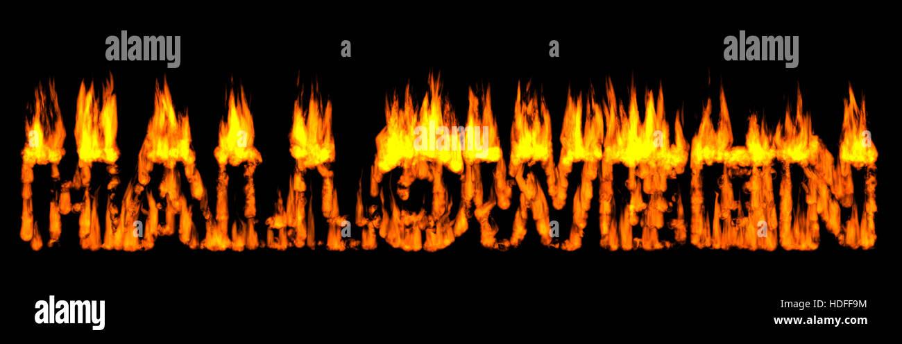 Halloween written in Burning letters Stock Photo