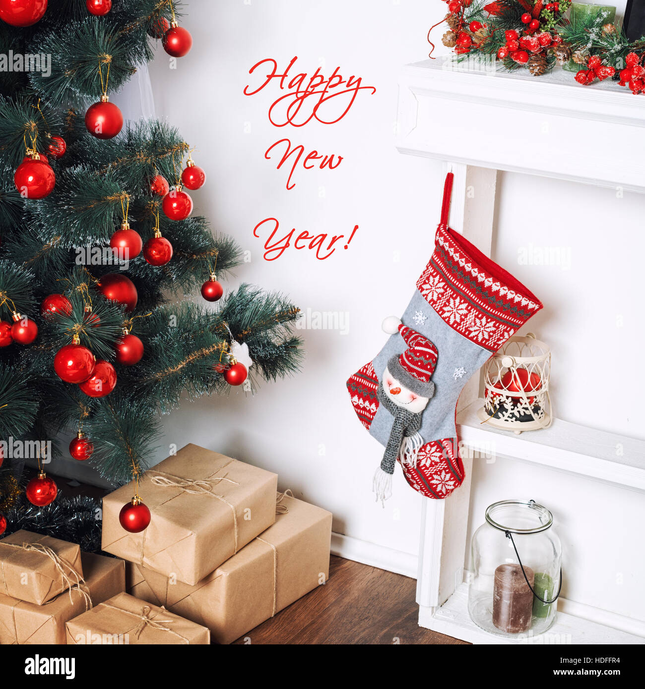 happy new year card beautiful decorated room with christmas tree and presents under it winter holidays theme