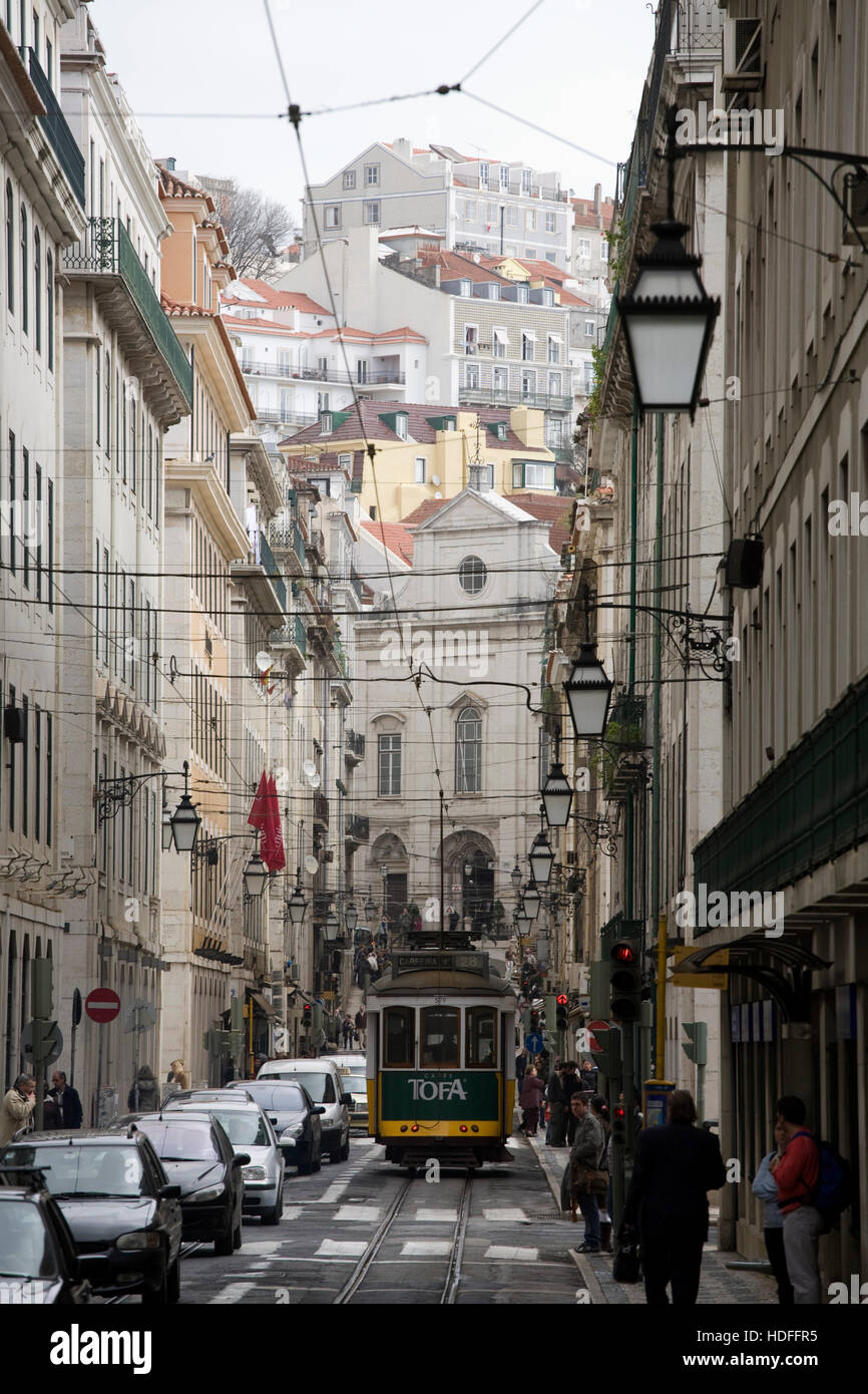 Street in the center of Lisbon, Portugal, Europe Stock Photo