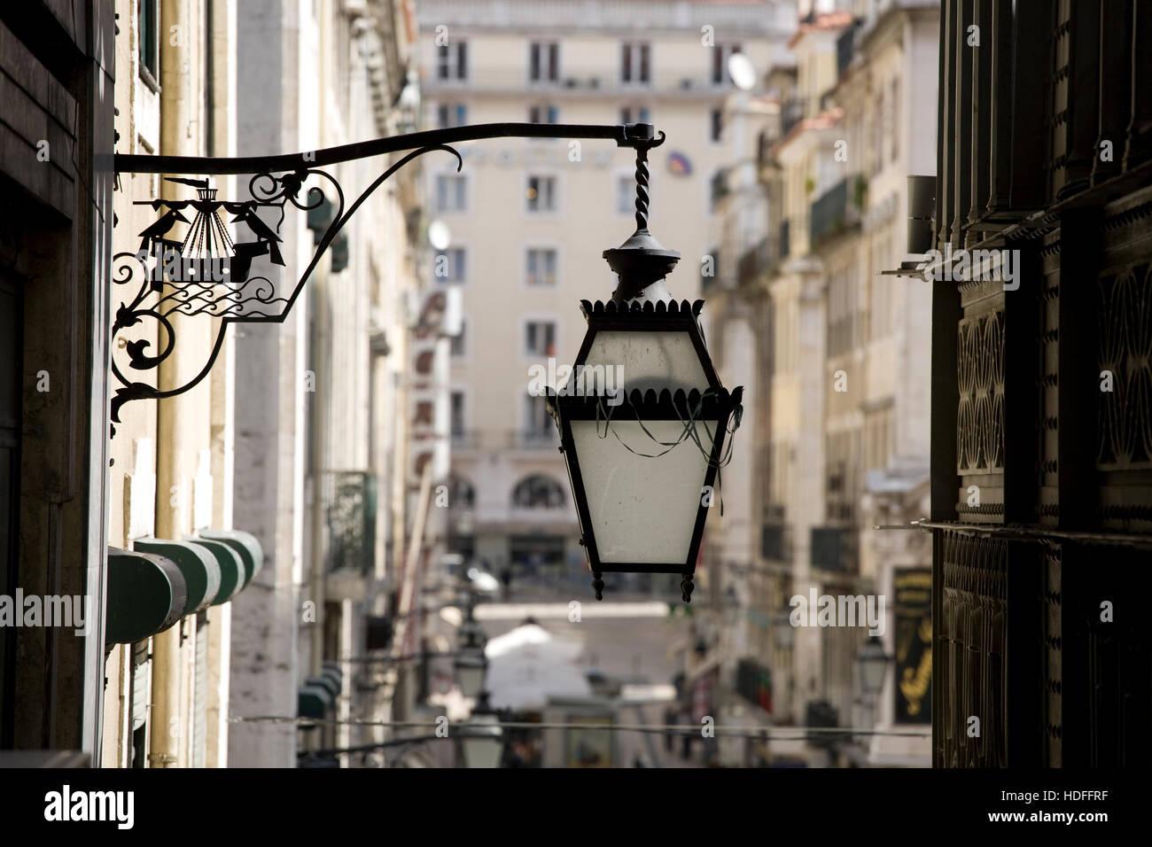 Typical streetlamp, Baixa, Lisbon, Portugal, Europe - Stock Image