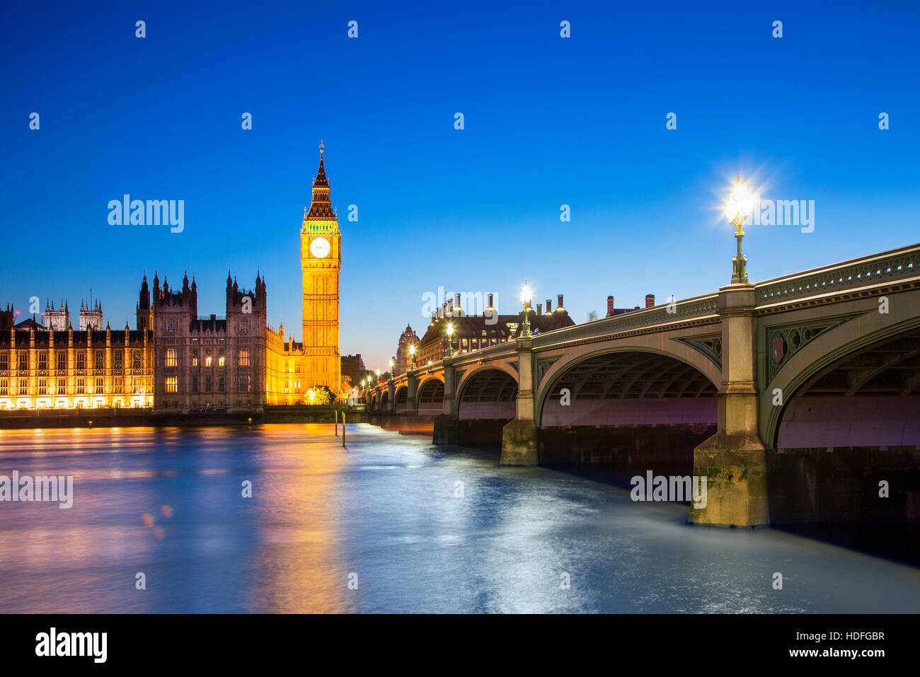 Big Ben Clock Tower and Parliament house at city of Westminster, London England UK - Stock Image