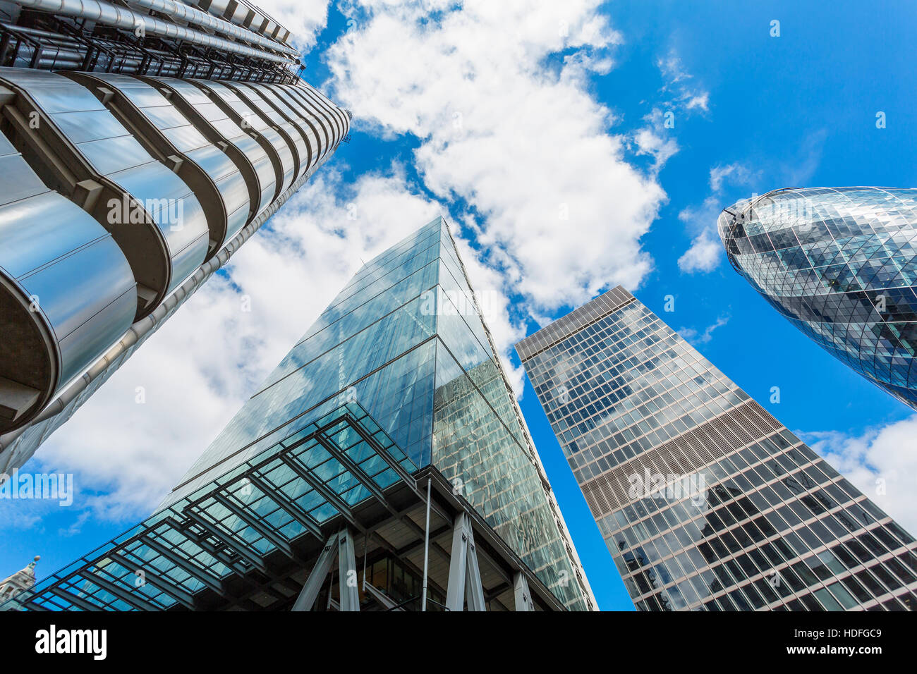 Skyscrapers in City of London,( Lloyds of London, Tower 42, Aviva and the Gherkin) - Stock Image