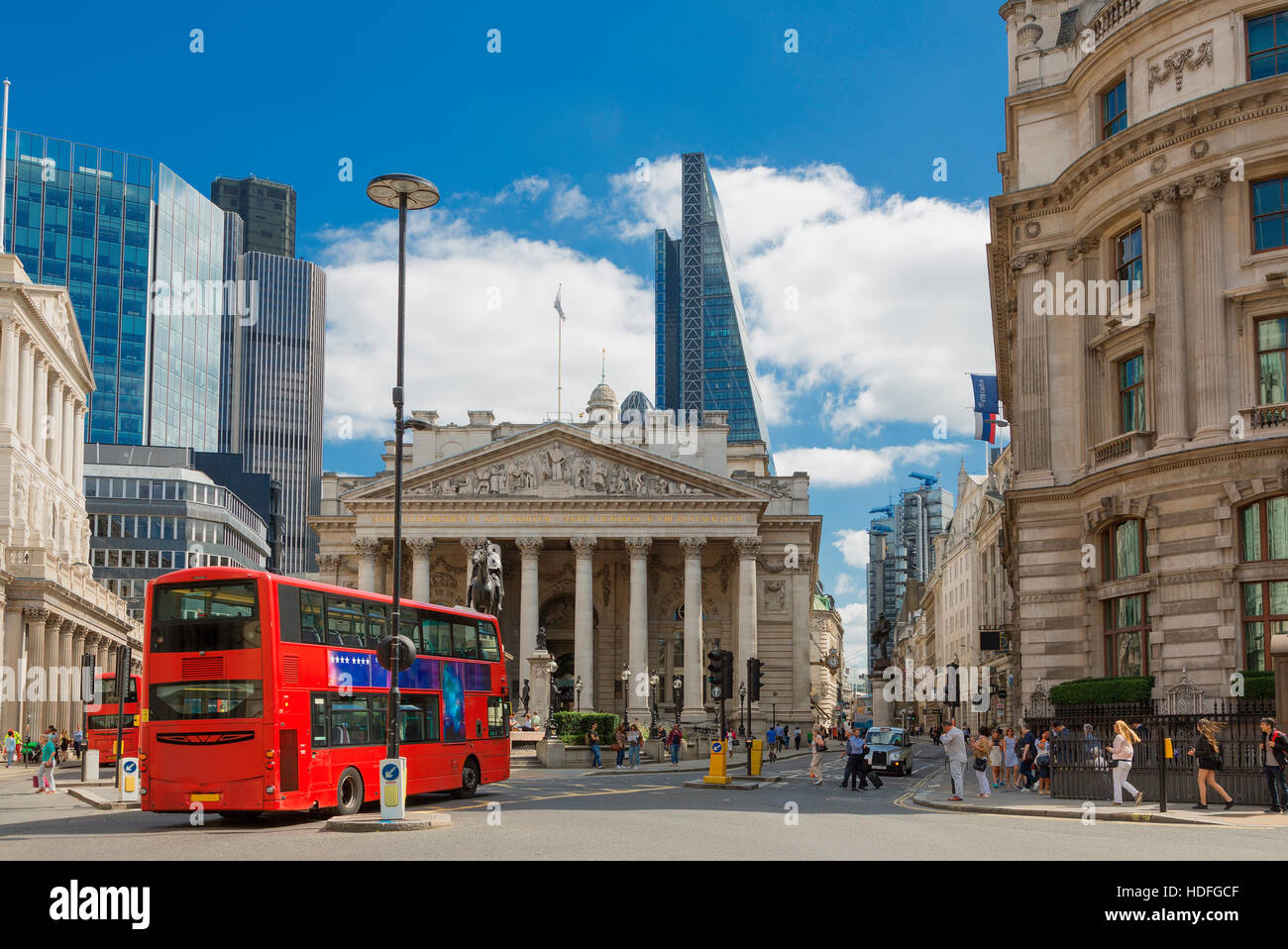 LONDON, UK - August 11, 2016: View of British financial heart, Bank of England and Royal Exchange. - Stock Image