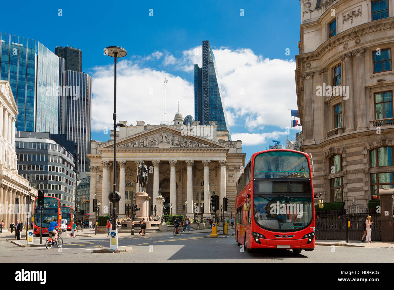 LONDON, UK - View of British financial heart, Bank of England and Royal Exchange. - Stock Image