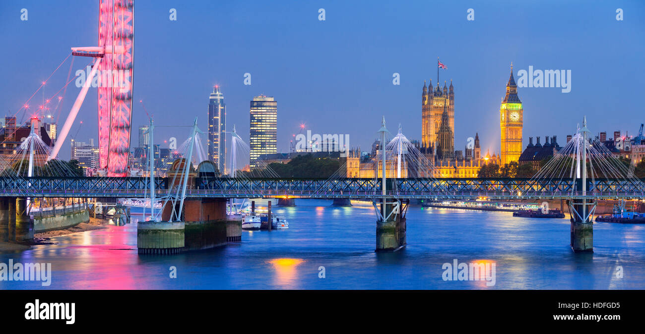 London at twilight. London eye, County Hall, Westminster Bridge, Big Ben and Houses of Parliament. - Stock Image