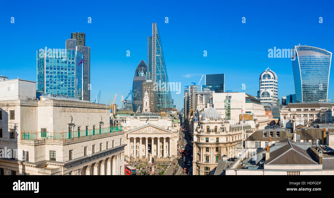 The bank district of central London with famous skyscrapers and other landmarks - Stock Image