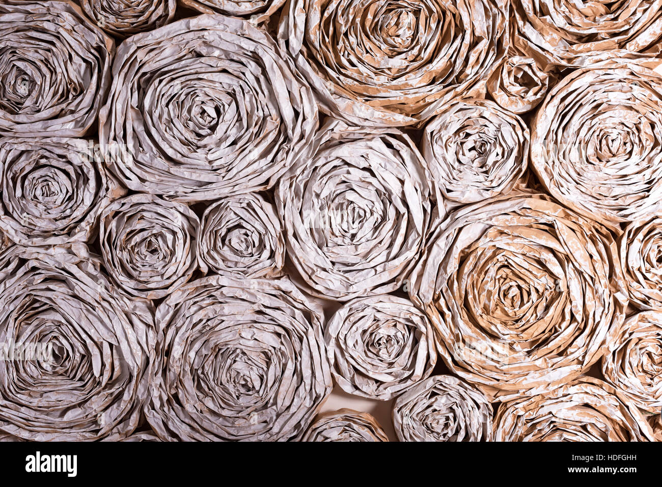 Wall With Paper Flowers Handmade Craft Creative Abstraction Stock